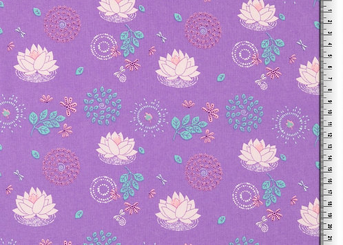 Organic Baumwolle Seerose auf lila Webware