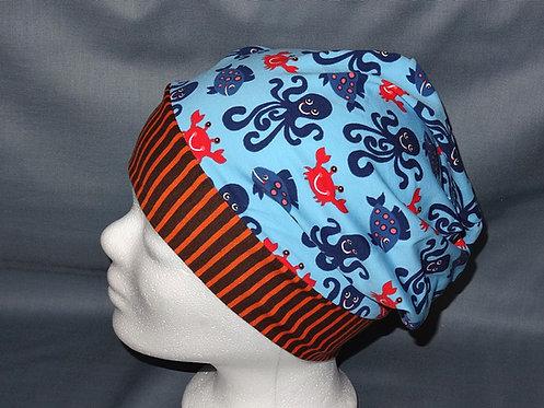 Beanie Meeresbewohner blau Mütze Tiere Handmade genäht Jersey