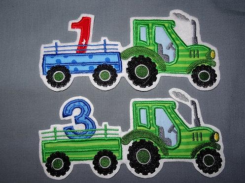 Traktor Aufnäher Geburtstag Zahl 1 2 3 4 5 6 7 8 9 10 Applikation Shirt nähen