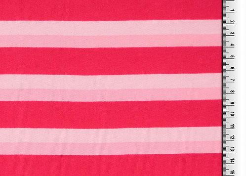 Wintersweat Sweat Streifen rosa rot Kombistoff Meterware Baumwollsweat
