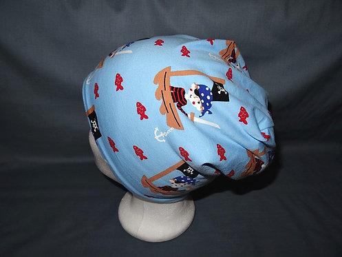 gefütterte Beanie Pirat hellblau Mütze Handmade genäht Jersey