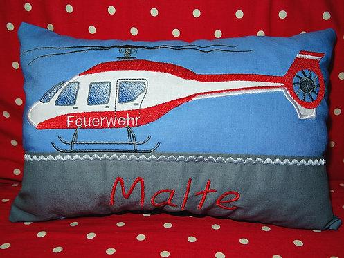 Namenskissen mit Feuerwehr Hubschrauber in Wunschfarbe