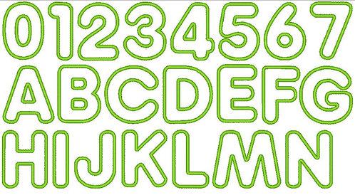 12cm Buchstaben und Zahlen Stickdatei Alphabet Zahl