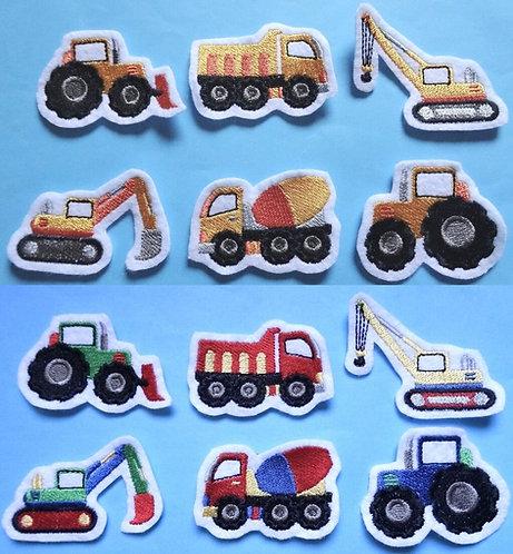 kleine Baufahrzeuge Aufnäher nach Wahl