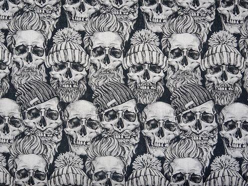 Skull Totenkopf mit Bart Baumwolle Meterware Baumwollstoff Webware