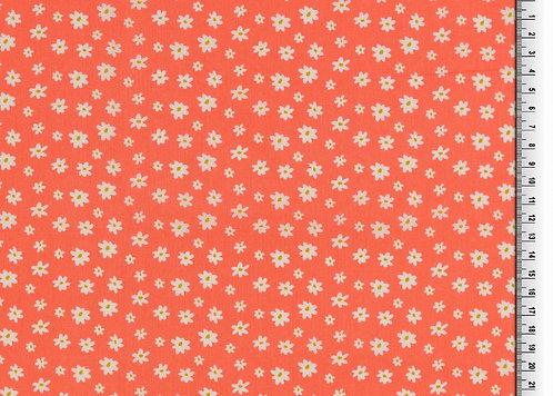 Blumen auf orange Baumwolle Meterware