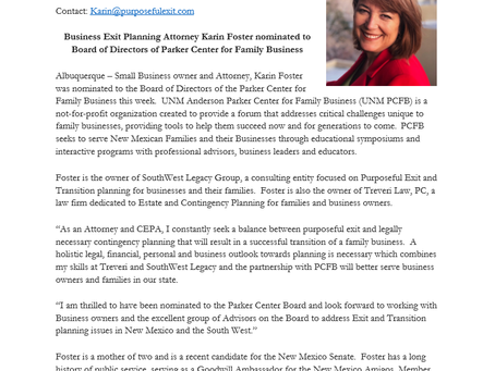 Business Exit Planning Attorney Karin Foster nominated to Board of Directors of Parker Center for Fa
