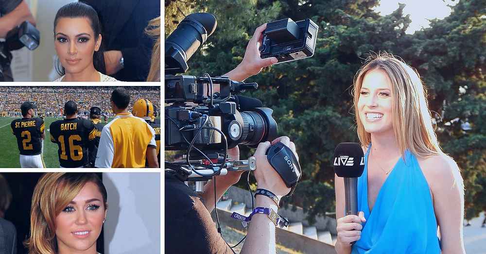 Collage with Kim Kardashian, Charlie Batch, Miley Cyrus, and a reporter doing a stand up interview