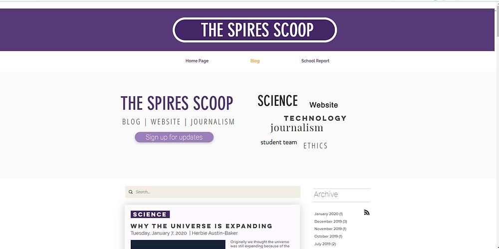 The Spires Scoop website - Blog user interface