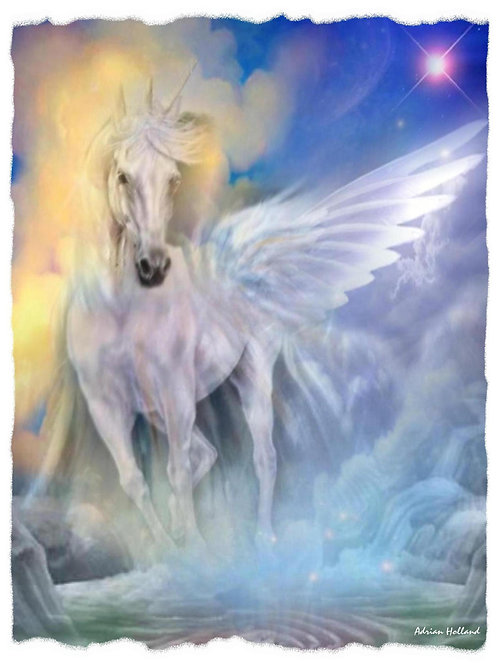 A4 Winged Unicorn Framed Print