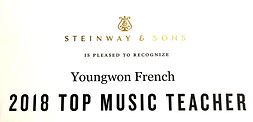 Youngwon French is a 2018 Top Music Teacher by Steinway & Sons.