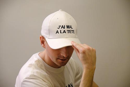 """White cap - Limited edition """"J'ai Mal A La Tete"""""""