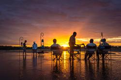 Relaxing with sundowners after a Zambia walking safaris Ntanda Ventures