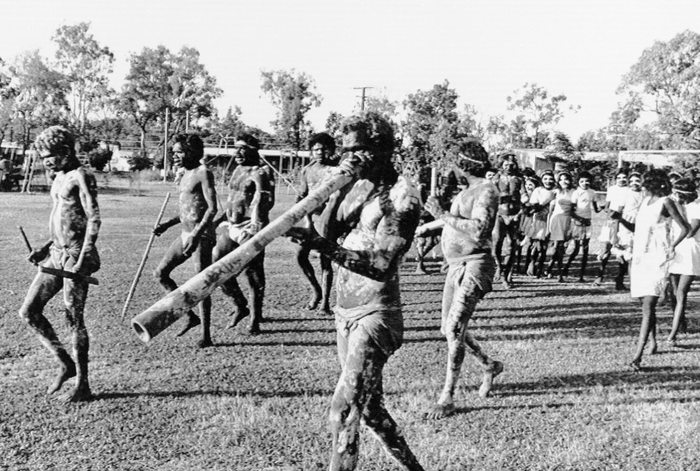 "Aborigines of northern Australia perform a corroboree dance for visitors in 1978. Music for the corroboree is part of a recent study on ""the natural history of song."" AP Photo/Peter O'Loughlin"