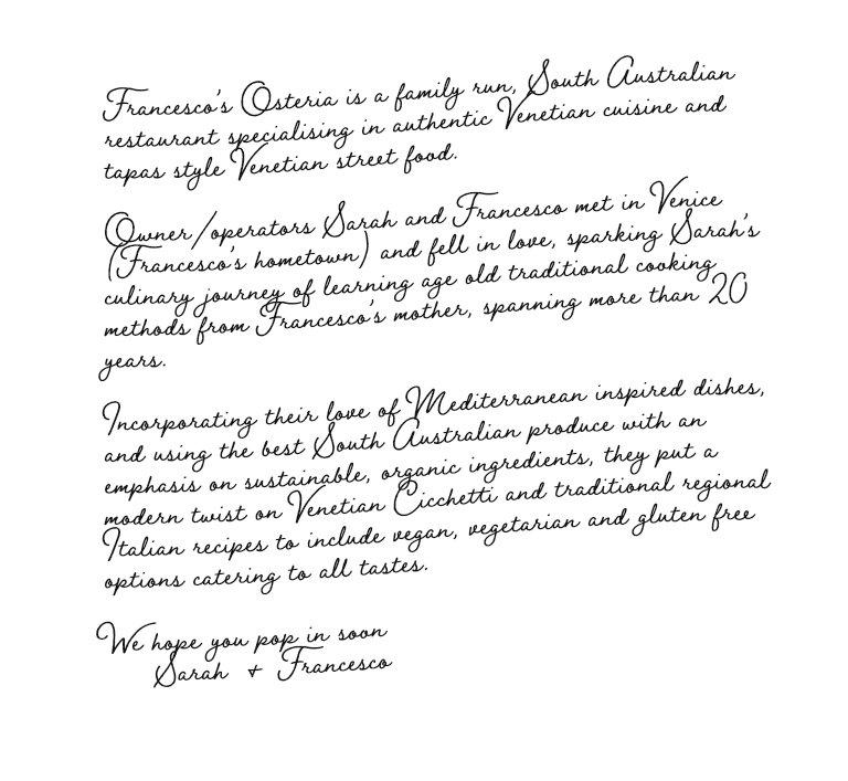 Francesco's Osteria Italian Venetian Restaurant Torrensville Adelaide