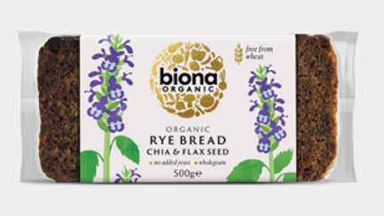 Biona Organic Rye Bread with Chia & Flax Seeds 500g (£/each)