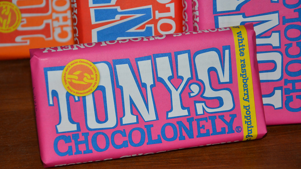 Tony's Chocolonely - White Chocolate with Raspberry & Popping Candy (£/each)