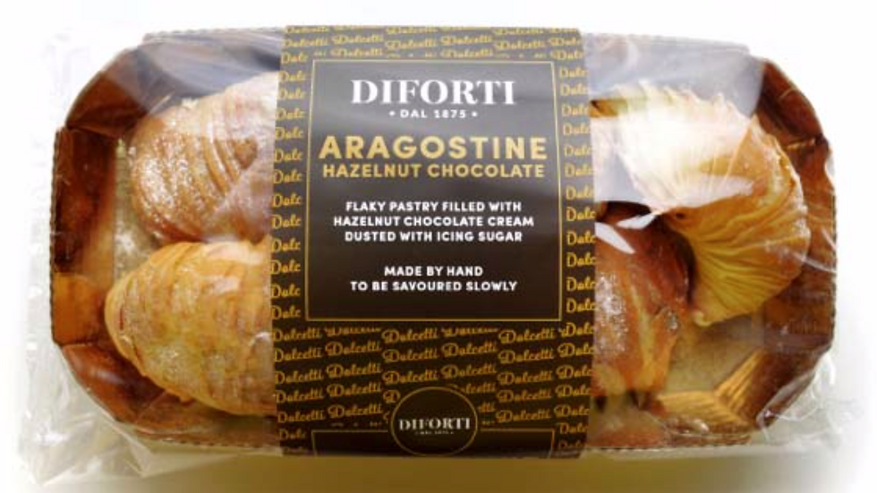 Diforti Aragostine with Hazelnut Chocolate Cream Pack of 6 150g (£/pack)