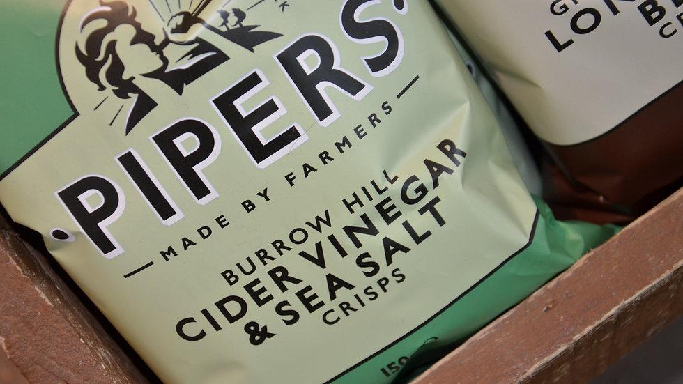 Pipers Crisps - Burrow Hill Cider Vinegar & Sea Salt 150g (£/each)