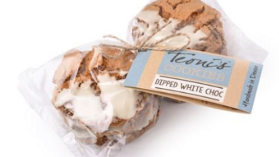 Teoni's Cookies - Dipped White Choc Chip 300g (£/pack)
