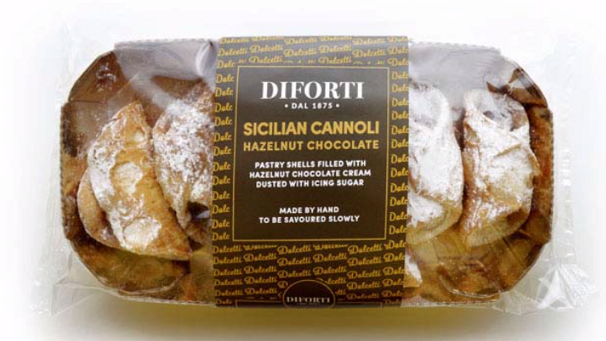 Diforti Sicilian Cannoli with Hazelnut Chocolate Cream Pack of 6 150g (£/pack)