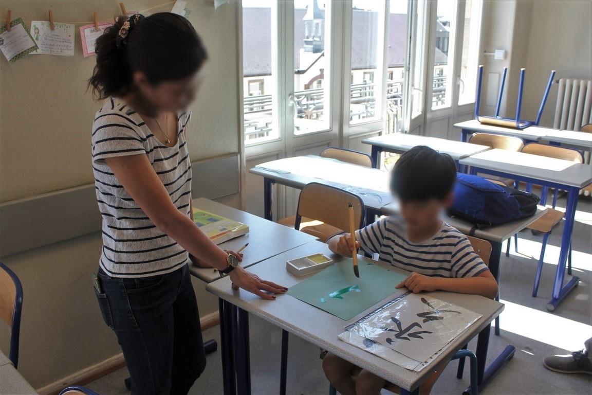 放課後の活動〜水習字