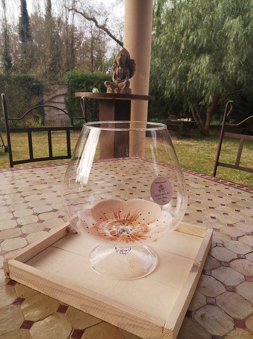 Vase forme cognac Fleur de Coton Doré