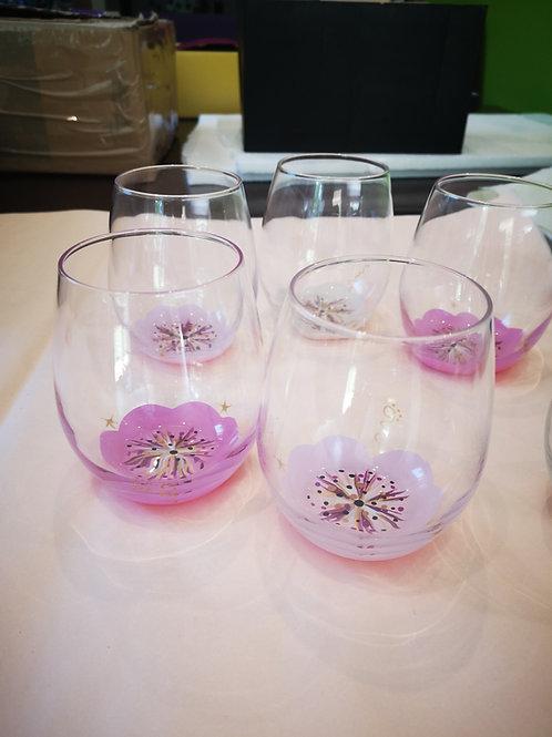 """Bouquet 6 Verres apéritif ou eau """"Rose poudrée"""""""