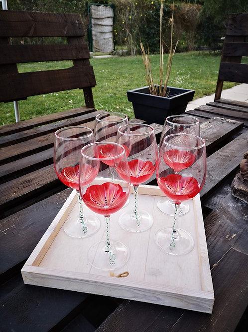 """Bouquet de 6 verres à vin """"Fleurs de Mars"""""""