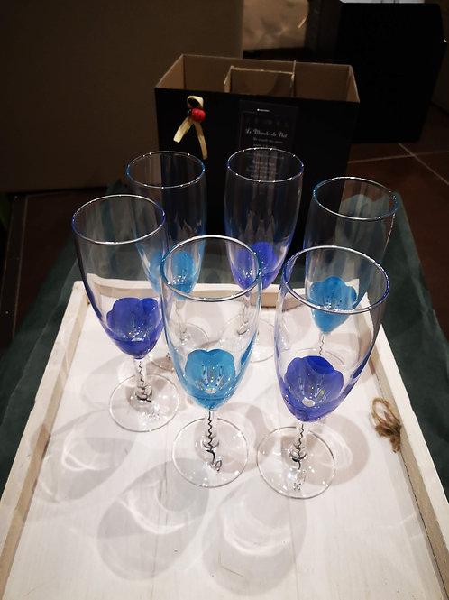 """Bouquet 6 Flûtes à champagne en Fleurs """"Duo de Bleus"""""""