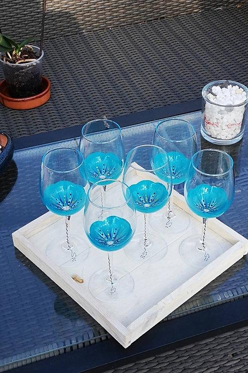 """Bouquet 6 Vin dégustation """"Fleur Azur"""""""