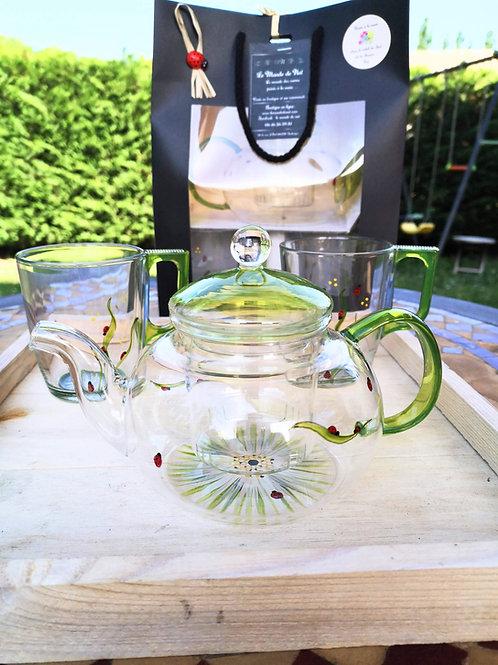 """Coffret Théière et tasses """"Marguerite et Coccinelles"""""""