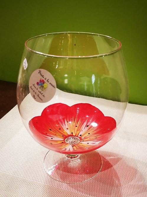 Grand Vase Cognac Fleur rouge