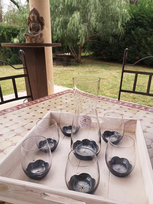 Ensemble Carafe et 6 verres eau/aperitif Anémone de Mer