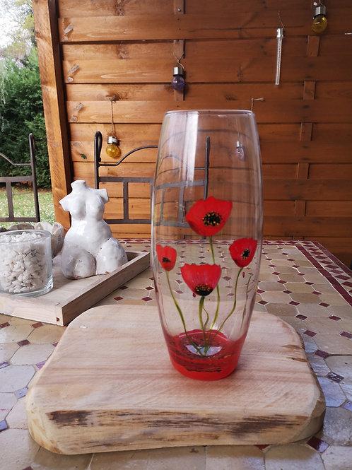 Grand Vase Fleur de Coquelicot et coccinelle