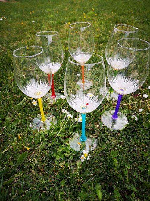 """Bouquet 6 Vin Dégustation """"Fleurs de printemps"""" Multicolores"""