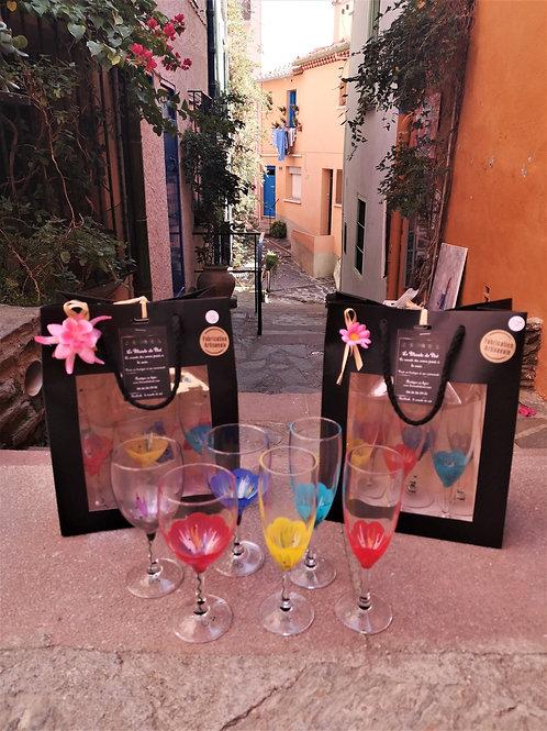 """Bouquet 6 Flûtes à champagne """"Fleurs multicolores"""""""