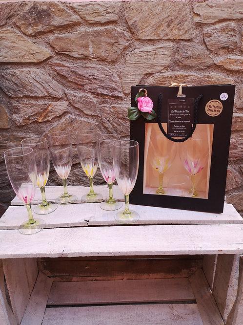 """Bouquet 6 Flûtes à champagne """"Coccinelles et Marguerites"""""""
