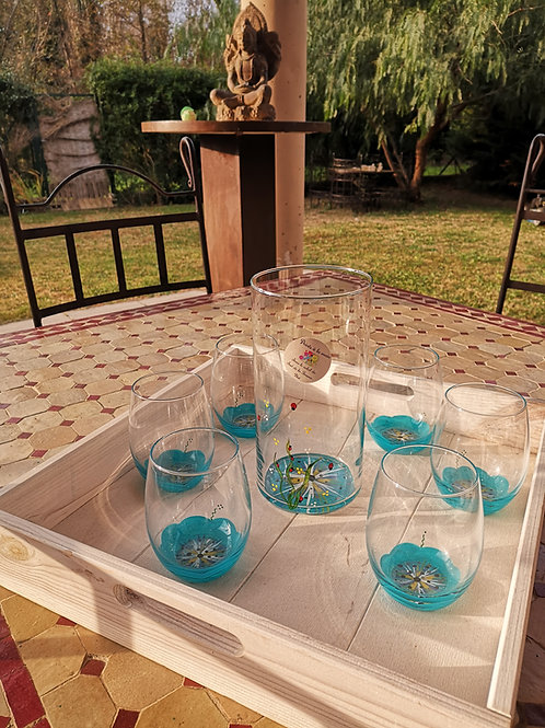 Ensemble Vase et 6 verres eau/aperitif Fleur Bleu Azur