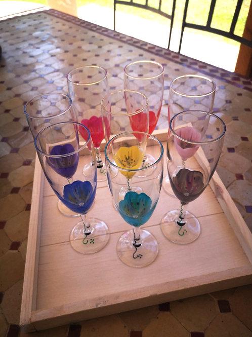 """Bouquet 8 Flûtes à Champagne""""Fleurs Multicolores"""""""