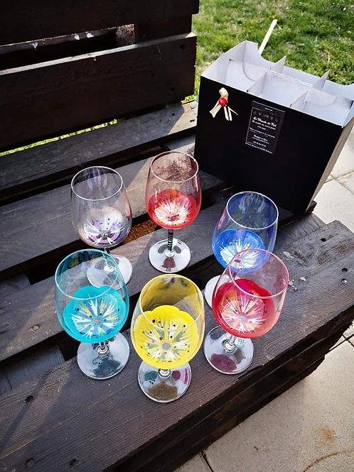 """Bouquet 6 Vin dégustation """"Fleurs Multicolores"""""""
