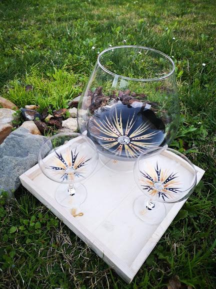 Muriel, Vase Cognac Noir Doré