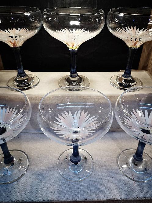"""Bouquet de 6 Coupes à l'ancienne """"Anémones de Mer"""""""