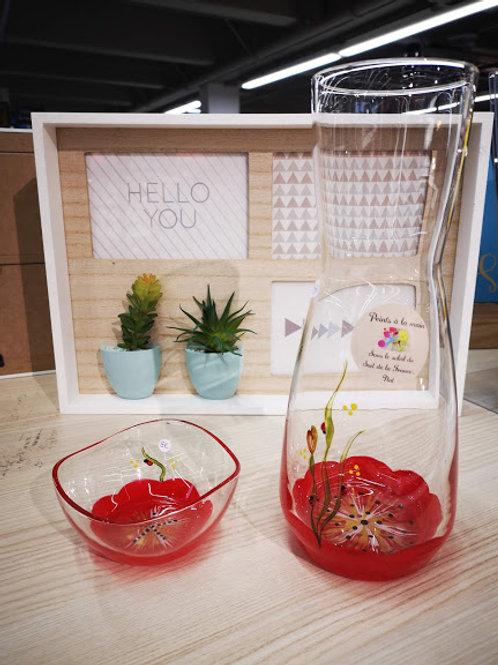 Carafe / Vase Fleur Rouge ou couleur au choix