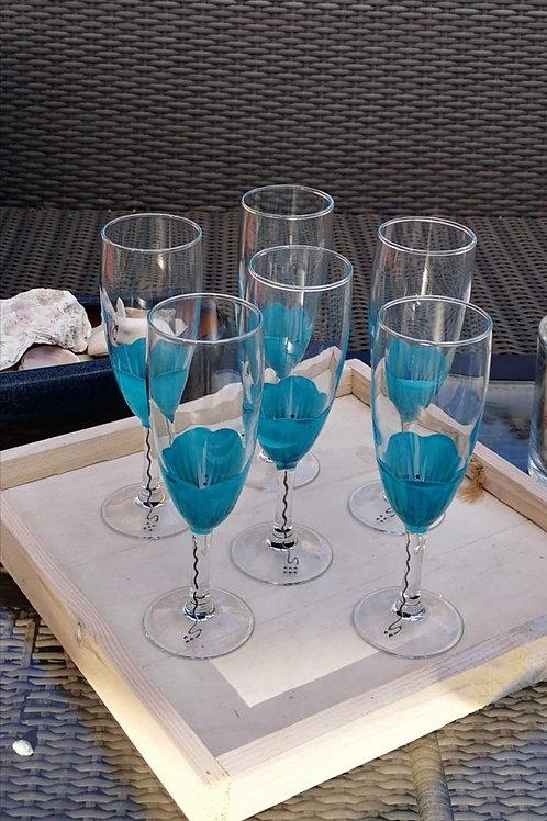 """Bouquet 6 Flûtes à champagne """"Fleurs Azur"""""""
