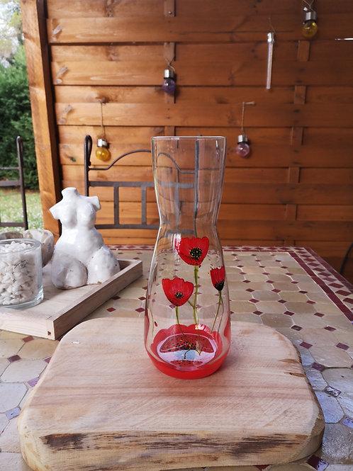 Carafe/vase Fleur Coquelicot et Coccinelles..