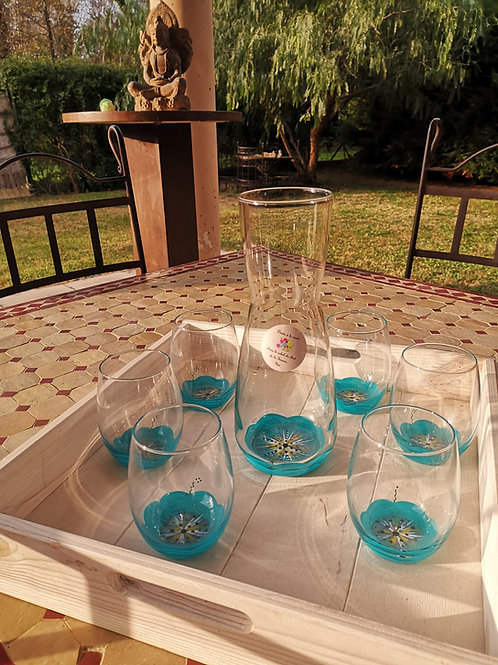Ensemble Carafe et 6 verres eau/aperitif Fleur Bleu Azur