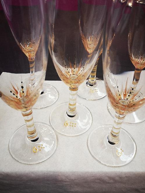 """Bouquet de 6 Flûtes à champagne """"Fleurs dorées"""" et variantes"""