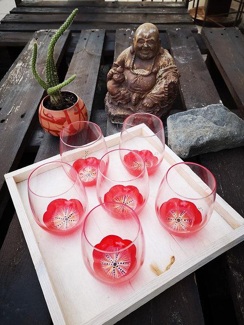 """Bouquet 6 Verres apéritif ou eau """"Fleurs de Mars"""""""