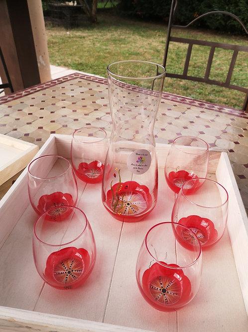 Ensemble carafe et 6 verres eau/aperitif rouge Fleurs de Mars